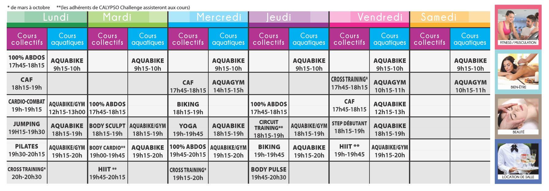 Planning cours collectifs Calypso 2018 janiver